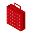 red dotted bag icon isometric style vector image vector image