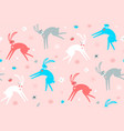 seamless childish pattern with hand drawn rabbits vector image