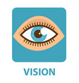 sense vision flat style icon eye isolated on vector image vector image