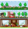 set lovers posters banners in flat vector image vector image