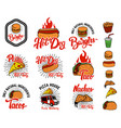 Set of hand drawn fast food emblems pizza hot dog