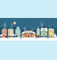 snowy christmas night in cozy town city panorama vector image vector image
