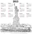 statue liberty 2013 calendar vector image vector image