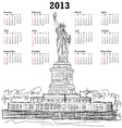 statue of liberty 2013 calendar vector image vector image