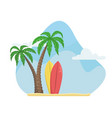 summer with palm trees and surfboards beach vector image vector image