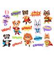 superhero animals funny kids zoo heroes vector image vector image