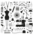 tailoring and sewing icons vector image vector image