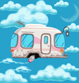 trailer flying in clouds on a background of the vector image vector image