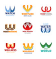 w letter font design corporate business identity vector image vector image