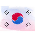 watercolor brush flag south korea officially vector image
