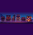 western town with old buildings at night vector image vector image