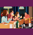 young people having fun in a bar vector image