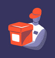 a man courier with a box in orange and purple vector image vector image