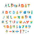 alphabet stationery letters abc font vector image vector image