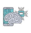 artificial intelligence brain smartphone circuit vector image