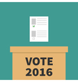 Ballot Voting box Paper blank bulletin with green vector image