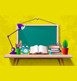 book on desk at blackboard vector image