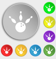 bowling icon sign Symbol on eight flat buttons vector image vector image