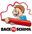 boy with crayon back to school cartoon vector image vector image