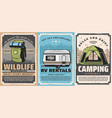 camping tent tourist backpack rv trailer travel vector image vector image