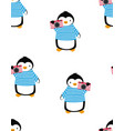 cartoon pattern with penguins summer print vector image vector image