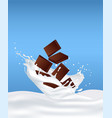 chocolate in milk and splashes fly around vector image