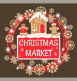 christmas market with gingerbread house and men vector image vector image