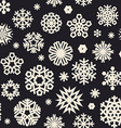 christmas seamless pattern with snowflakes bw vector image