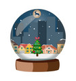 christmas snowball with winter city vector image vector image