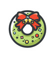 christmas wreath with red bow icon cartoon vector image
