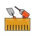 construction box with drill spatula tools vector image vector image