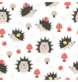 cute funny hedgehogs pattern vector image