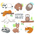 cute sleeping wild animals icon set vector image vector image