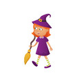 cute smiling red hair girl in witch halloween vector image vector image