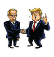 donald trump shakes hands with vladimir putin vector image vector image