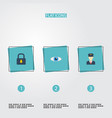 flat icons vision padlock policeman and other vector image