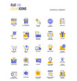 flat line multicolor icons design-shopping and e vector image vector image