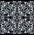 floral damask seamless pattern black and vector image vector image