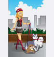 girl walking her dogs vector image vector image
