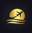 gold airplane travel logo vector image vector image