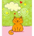 Greeting card with red cat vector image vector image