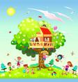 happy children play near tree house vector image vector image
