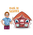 happy kid and cartoon house back to school concept vector image vector image