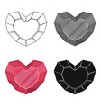 heart-shaped gemstone icon in cartoon style vector image vector image