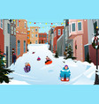 kids sledding on a snowy street during winter vector image vector image