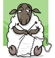 knitting sheep cartoon vector image vector image