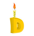 letter d birthday font letter and candle vector image vector image