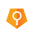 magnify or magnifying glass with orange pentagon vector image