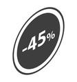 minus 45 percent sale black icon isometric style vector image vector image