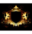 ornamental shield on a black background vector image vector image